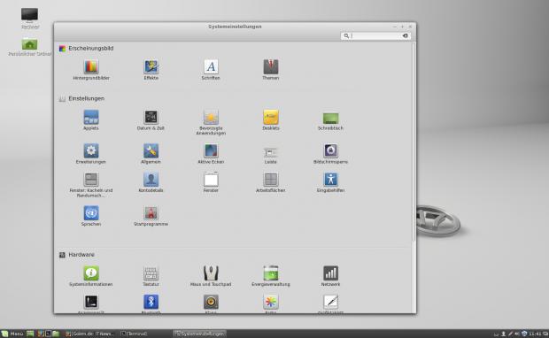 Das Layout der Systemeinstellungen des Cinnamon-Desktops ist übersichtlich.
