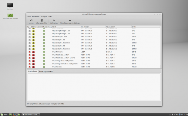 Der Update Manager installiert auf Wunsch alle sicherheitsrelevanten Updates.