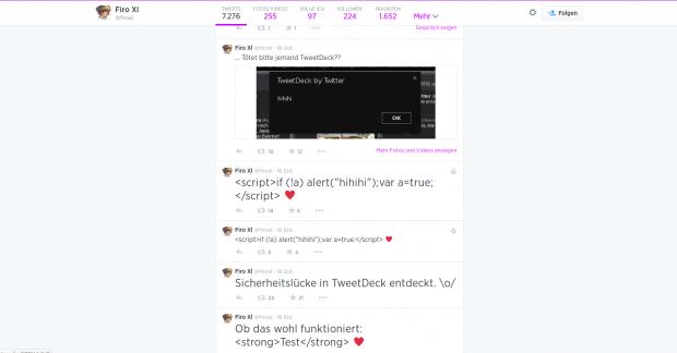 Firo XI hat eine Sicherheitslücke in Tweetdeck entdeckt. (Screenshot: Golem.de)