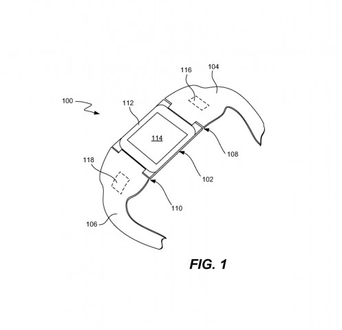 Apples Smartwatch, wie sie in der Patentschrift illustriert wird. (Bild: USPTO/Apple)