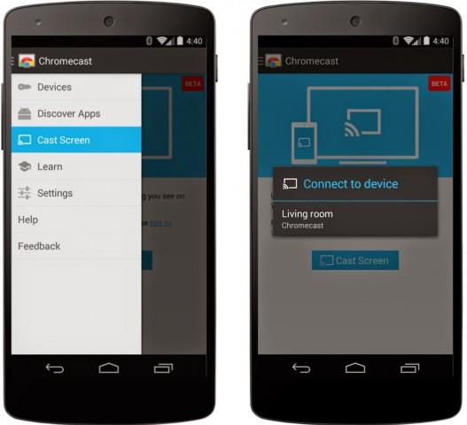 Über die Chromecast-App kann künftig der komplette Bildschirminhalt eines Android-Gerätes über den Chromecast gespiegelt werden. (Bild: Google)
