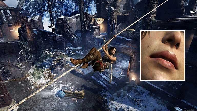 """PC-Spiele mit 4K, 6K, 8K, 15K: """"Spielen mit Downsampling schlägt Full-HD immer"""" - Tomb Raider in 14K mit 1:1-Ausschnitt. (Bilder: Joachim Otahal)"""
