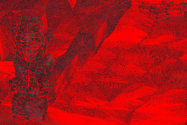 Drahtgitter in Stone Giant bei 15K: Die starke Tesselation macht auch entfernte Objekte (rechts) detailreicher. (Bilder: Joachim Otahal)