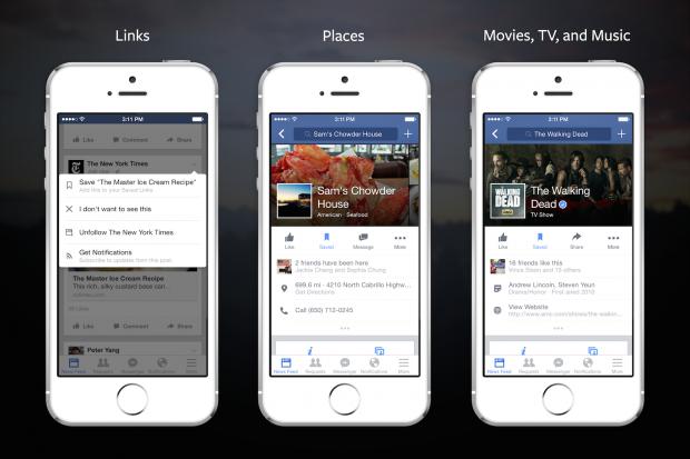 Facebook kann Orte, Links und auch Videos speichern. (Bild: Facebook)