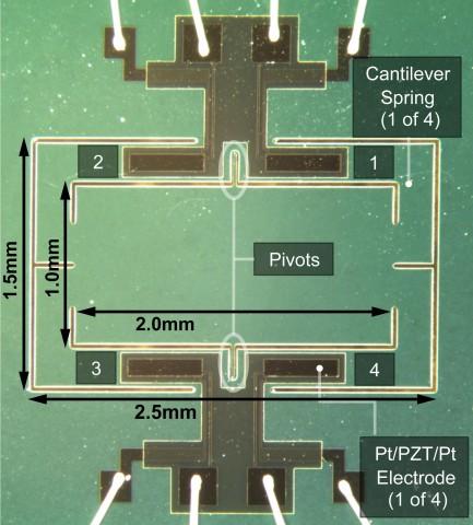 Der von den texanischen Forschern entwickelte Hörchip. Das Feld in der Mitte entspricht der intertympanischen Brücke, oben und unten liegen die beiden Ohren. (Bild: N. Hall/UT Austin)