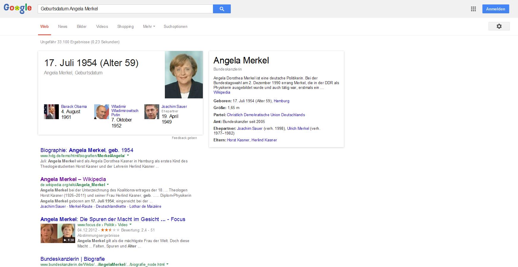 Suchmaschine: Wie Google den Rest des Internets überflüssig macht - Beim Knowledge Graph bindet Google rechts neben den Trefferlisten vor allem Wikipedia-Inhalte ein. (Screenshot: Golem.de)