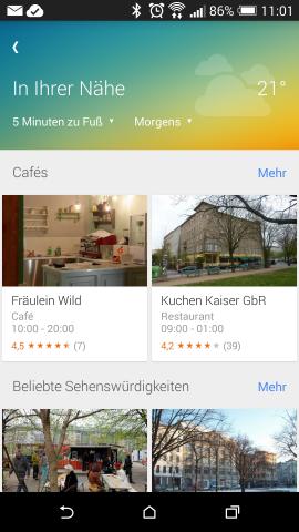 Die neue Entdecken-Funktionen von Google Maps (Screenshot: Google.de)