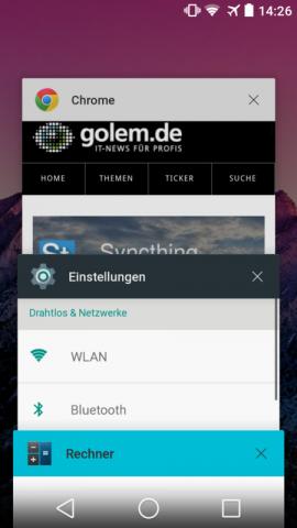 Android L mit neu gestalteteter Übersicht der zuletzt aufgerufenen Apps (Screenshot: Golem.de)