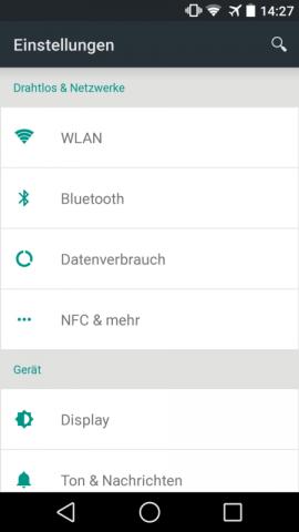 Einstellungen von Android L auf einem Nexus 5 (Screenshot: Golem.de)