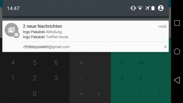 Geöffneter Benachrichtigungsbereich von Android L im Querformat auf einem Nexus 5 (Screenshot: Golem.de)