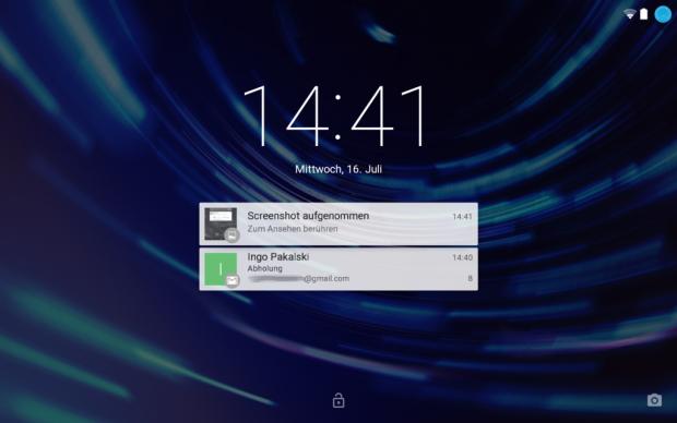 Android-L-Sperrbildschirm mit Benachrichtigungen im Querformat auf einem Nexus 7 (2013) (Screenshot: Golem.de)
