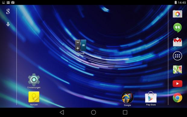 Startbildschirm von Android L mit neuen Navigationstasten auf einem Nexus 7 (2013) (Screenshot: Golem.de)