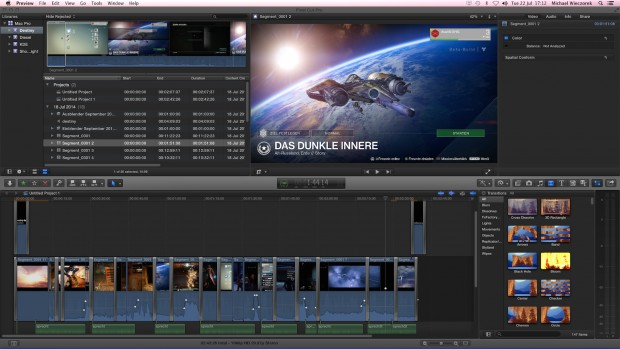 Final Cut Pro auf einem 16:9-Monitor ... (Screenshot: Michael Wieczorek)