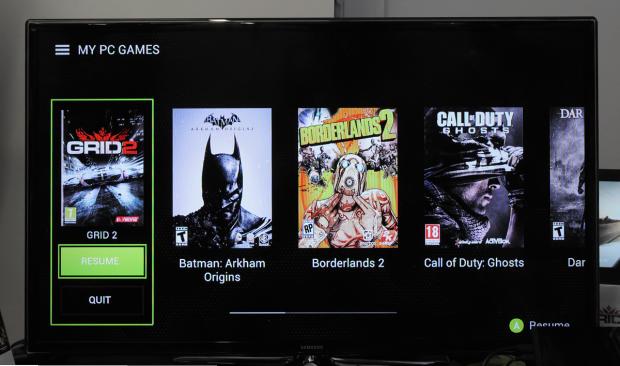 Von Gamestream erkannte Spiele auf dem PC zeigt das Tablet im Hub an. (Foto: Nico Ernst)