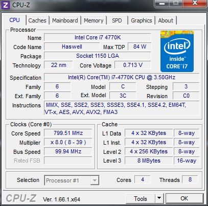 Ohne Last sinkt der Takt bei Core-CPUs bis 800 MHz, ... (Screenshot: Golem.de)