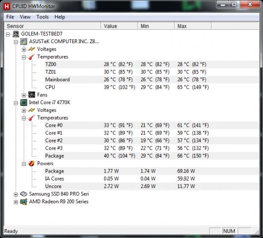 ... die Leistungsaufnahme der CPU liegt unter 3 Watt ohne Last. (Screenshot: Golem.de)