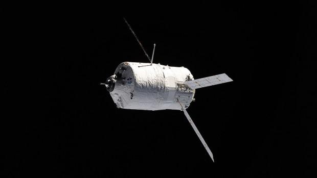Das ATV-2 Johannes Kepler, fotografiert von der ISS. Das zweite Automated Transfer Vehicle flog im Jahr 2011 zur ISS. (Foto: Esa)