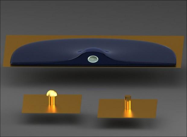 Zylinder oder Pilz - welche Form eignet sich besser für eine Bioschnittstelle? (Bild: FZ Jülich)