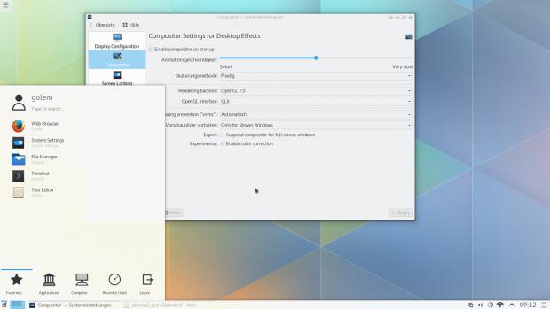 Transparenz funktioniert bei uns nicht mit dem OpenGL-Backend. (Bild: KDE / Screenshot Golem.de)
