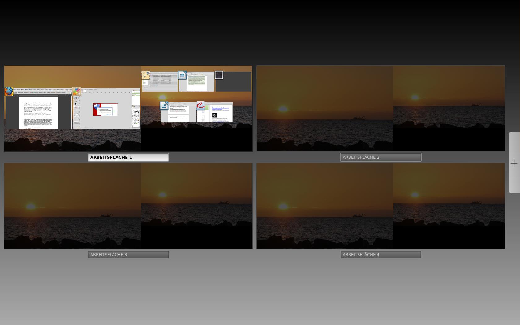 Windows Threshold: Keine Charms-Bar, aber virtueller Desktop - Der Multi-Desktop in Linux Mint (Screenshot: Golem.de)