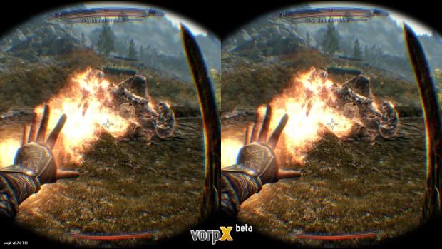 The Elder Scrolls 5 Skyrim mit VorpX-Treiber (Screenshot: Marc Sauter/Golem.de)