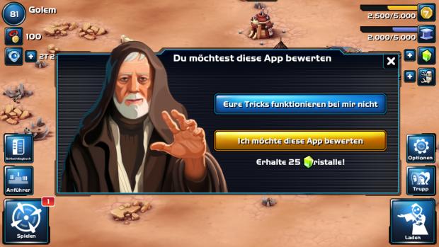 Obi-wan hält offenbar wenig von Bewertungen... (Screenshot: Golem.de)