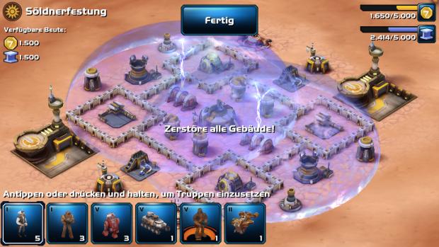 Sieht schick aus, schützt aber kaum: Eine Energiekuppel über einer Siedlung. (Screenshot: Golem.de)