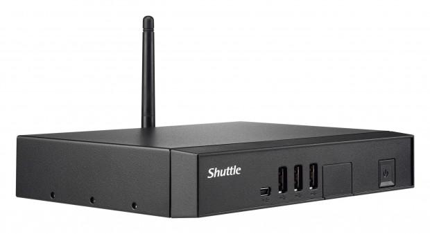 Der DSA2LS hat vorne USB-Schnittstellen und einen SD-Kartenleser hinter einer Klappe. (Bild: Shuttle)