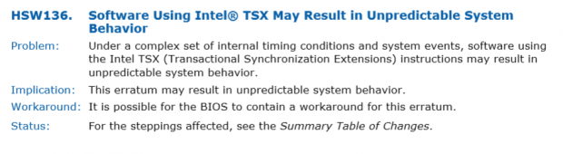 So beschreibt Intel den TSX-Bug im Specification Update. (Bild: Intel)
