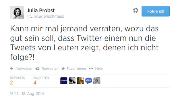Julia Probst wundert sich über die neue Funktion, die sie ungefragt erhielt. (Screenshot: Golem.de)
