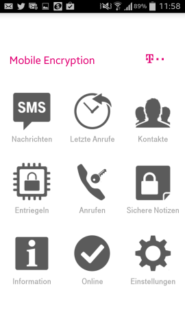 Der Startbildschirm der Mobile Encryption App (Screenshots: Golem.de)