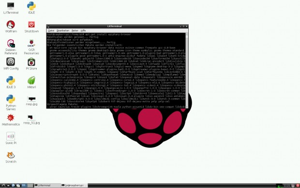 Damit der Browser Epiphany auf dem Raspberry Pi läuft, müssen unter Rasbian fast 500 MByte zusätzliche Software installiert werden. (Screenshot: Golem.de)