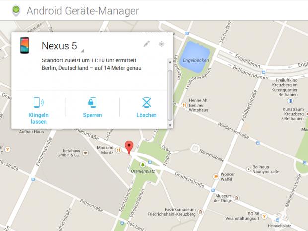 Ist das gestohlene Smartphone noch am Netz, lässt es sich über Googles Dienste lokalisieren. (Screenshot: Golem.de)