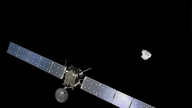 Künstlerische Darstellung von Rosetta im Anflug auf den Kometen 67P/Tschurjumow-Gerasimenko (Bild: ESA/ATG medialab; Komet: ESA/Rosetta/NAVCAM)