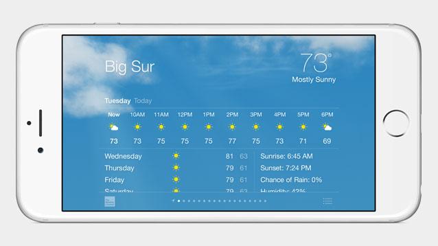 Vergrößerte Displays und NFC: Apple stellt iPhone 6 und iPhone 6 Plus vor - Die Wetter-App im Querformat auf dem iPhone 6 Plus (Bild: Apple)