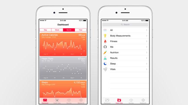 Vergrößerte Displays und NFC: Apple stellt iPhone 6 und iPhone 6 Plus vor - Die neue Health-App (Bild: Apple)