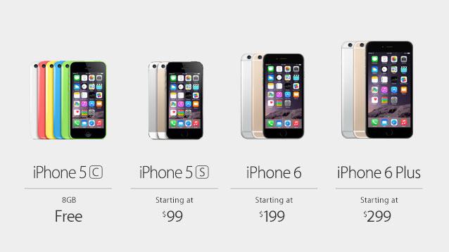 iPhone 6 und iPhone 6 Plus: Apple nennt Verkaufsrekord für neue iPhone-Modelle - Die Preisgestaltung der neuen iPhone-Modelle inklusive eines 2-Jahres-Vertrages in den USA (Bild: Apple)