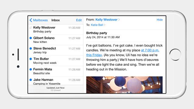 Vergrößerte Displays und NFC: Apple stellt iPhone 6 und iPhone 6 Plus vor - Die Mail-App im Querformat auf dem iPhone 6 Plus (Bild: Apple)