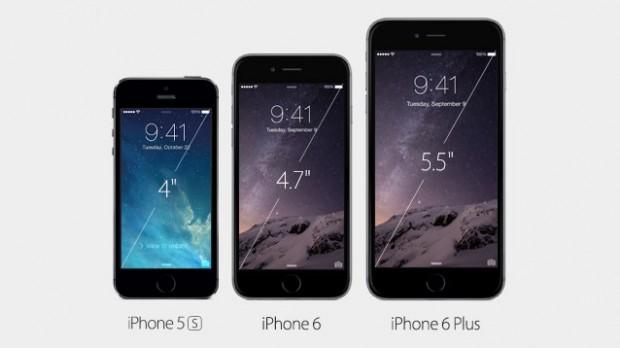 Das iPhone 5s, 6 und 6 Plus im Größenvergleich (Bild: Apple)
