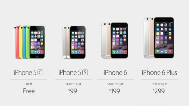 Die Preisgestaltung der neuen iPhone-Modelle inklusive eines 2-Jahres-Vertrages in den USA (Bild: Apple)