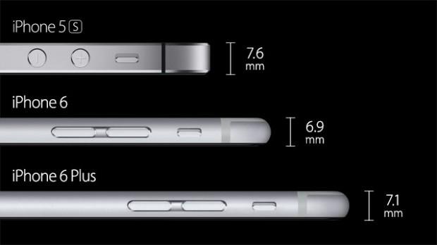 Die neuen iPhone-Modelle sind dünner als das iPhone 5S. (Bild: Apple)
