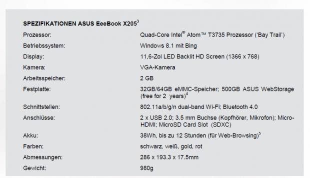 Das bisherige Datenblatt des X205 von Asus (Screenshot: Golem.de)