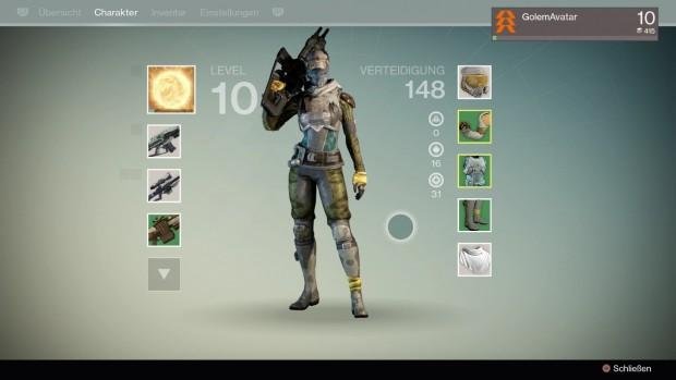 Im Charaktermenü sehen wir Waffen und Ausrüstung ...