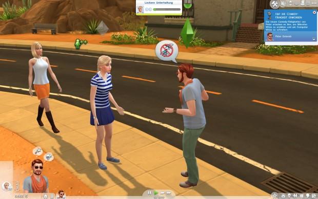 Auf der Straße vor unserem Haus suchen wir Kontakt zu Nachbarinnen. (Screenshot: Golem.de)