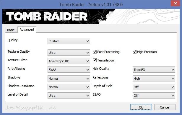 Custom-Einstellungen in Tomb Raider für bestes Bild bei guter Performance (Screenshot: Joachim Otahal)