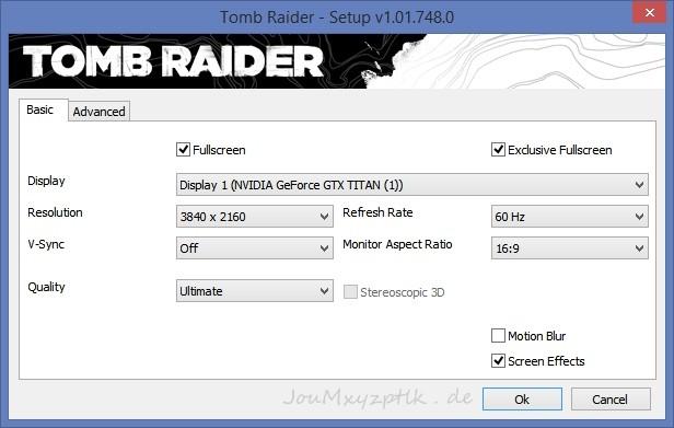 Die Einstellungen in Tomb Raider für die Vergleichsbilder (Screenshot: Joachim Otahal)
