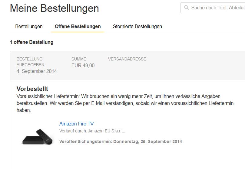 Streaming-Box im Kurztest: Fire TV läuft jetzt mit deutschen Amazon-Konten - Unser zweites Fire TV soll Ende September eintreffen. (Screenshot: Golem.de)