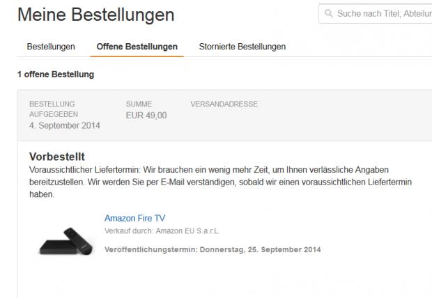 Unser zweites Fire TV soll Ende September eintreffen. (Screenshot: Golem.de)