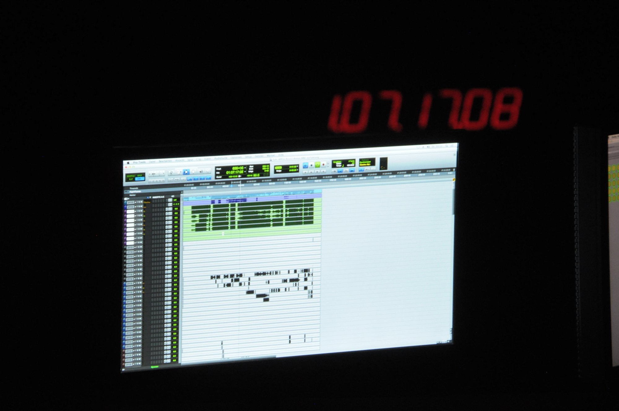 Dolby Atmos Probe gehört: Klang aus der Decke kommt fürs Heimkino - In den Pro Tools ist ein kleiner Teil der Objektspuren zu sehen. (Foto: Andreas Sebayang/Golem.de)