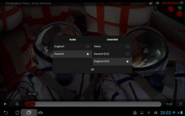 Was sich viele Fans wünschen: Direktes Umschalten der Sprache, hier bei Netflix unter Android. (Screenshot: Golem.de)
